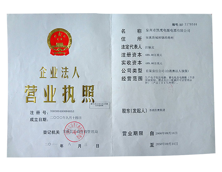 The original 2013 business license